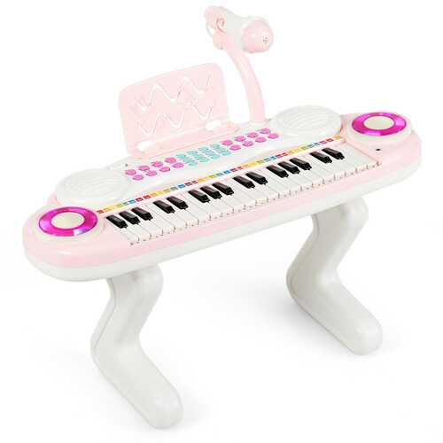 37-key Kids Toy Keyboard Piano with Microphone-Pink