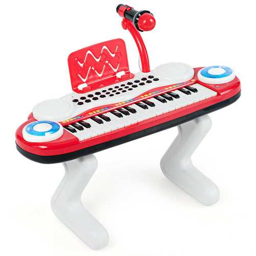 37-key Kids Toy Keyboard Piano with Microphone-Red