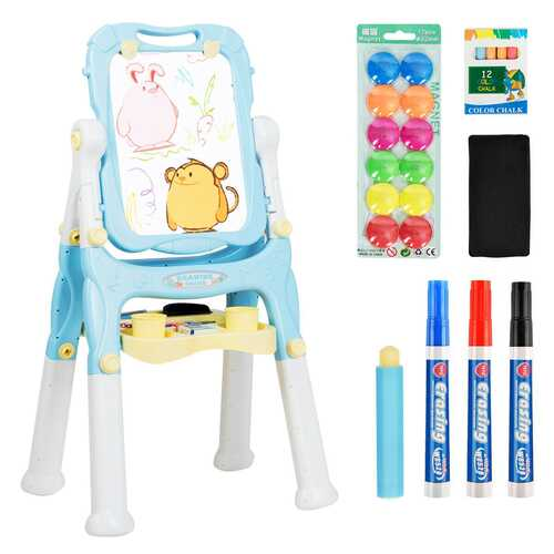 Kids Height Adjustable Double Side Magnetic Art Easel-Blue