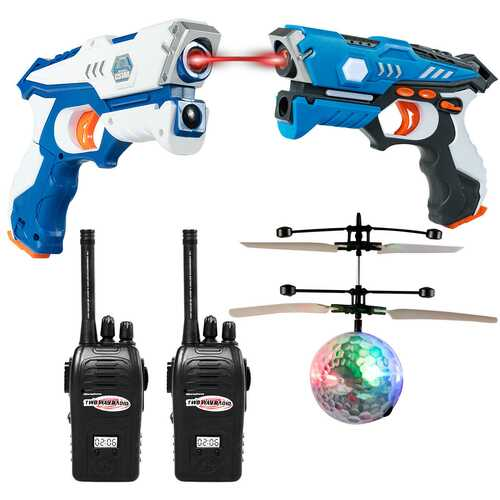 Infrared Laser Tag Guns Game with 2 Walkie Talkies & Flying Ball-Blue