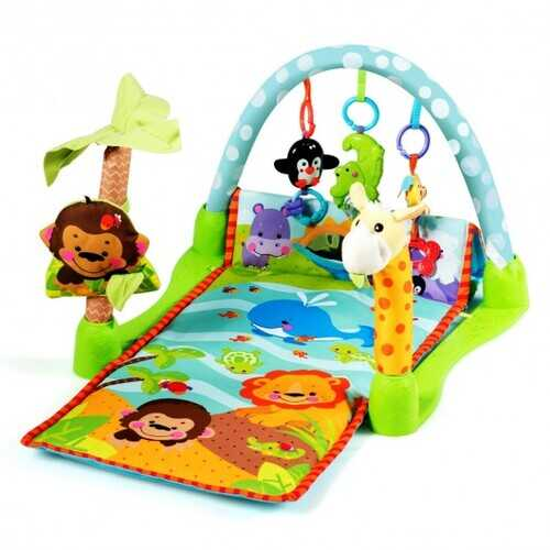4-in-1 Baby Play Gym Mat with 3 Hanging Educational Toys
