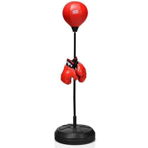 Adjustable Height Punching Bag with Stand Plus Boxing Gloves for Both Adults and Kids
