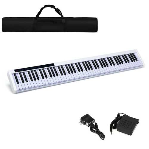 88-Key Portable Electronic Piano with Bluetooth and Voice Function-White