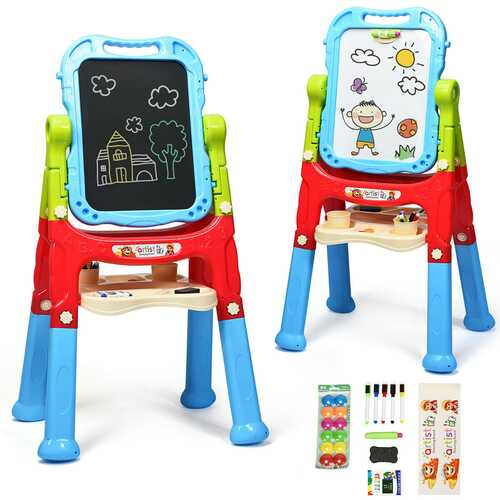 Kids Flip-Over Magnetic Double Sided Art Easel-Blue