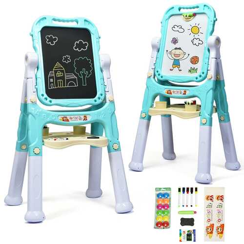 Kids Flip-Over Magnetic Double Sided Art Easel-Green