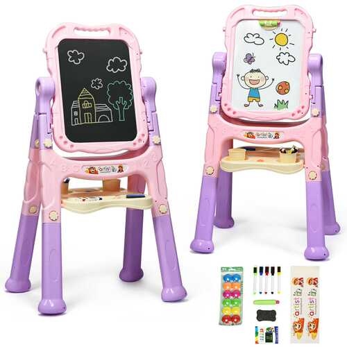 Kids Flip-Over Magnetic Double Sided Art Easel-Pink