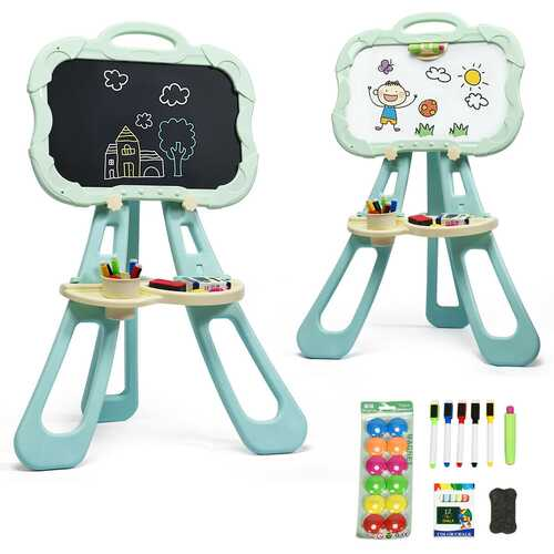 4 in 1 Double Sided Magnetic Kids Art Easel-Green