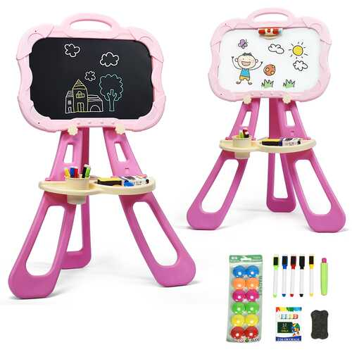 4 in 1 Double Sided Magnetic Kids Art Easel-Pink