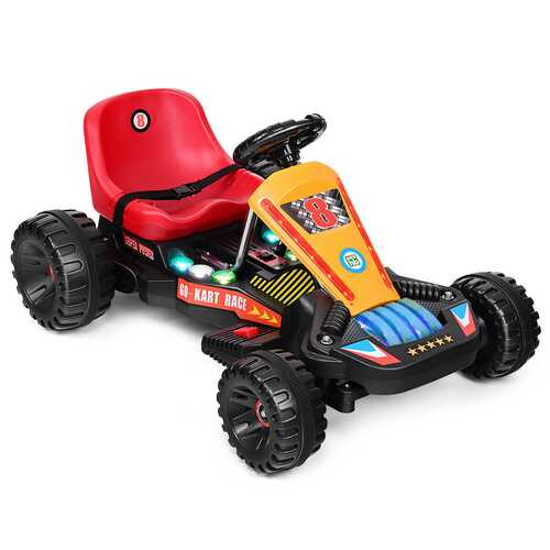 4 Wheels Electric Powered Go Kart Kids Ride on Car-Red - Color: Red