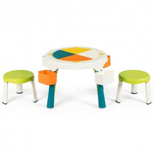 5-in-1 Kid Folding Storage Activity Table Chair Set-Green
