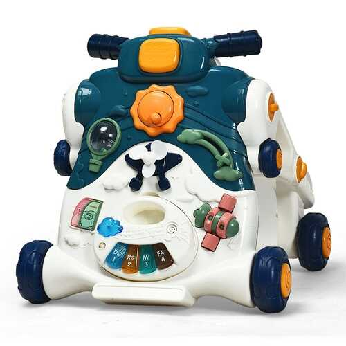 3-in-1 Baby Sit-to-Stand Walker with Music and Lights-Blue