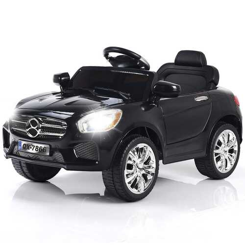 6V Kids Remote Control Battery Powered LED Lights Riding Car-Black - Color: Black