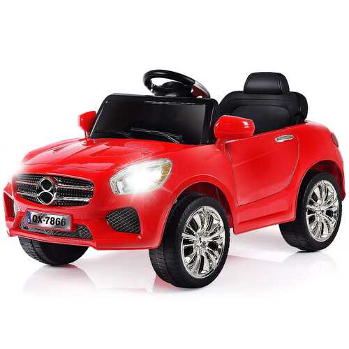 6V Kids Remote Control Battery Powered LED Lights Riding Car-Red - Color: Red