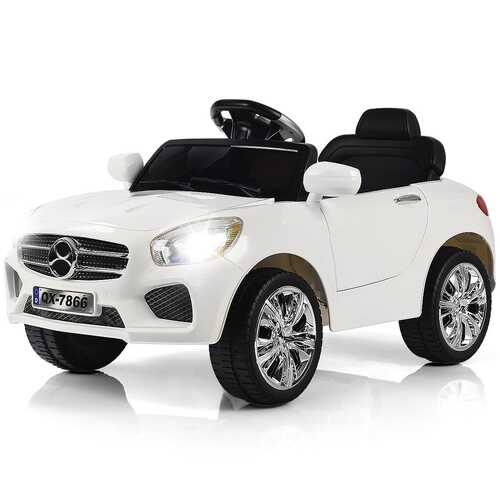 6V Kids Remote Control Battery Powered LED Lights Riding Car-White - Color: White