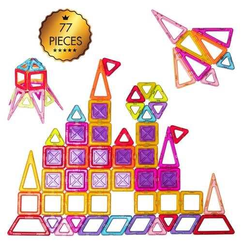 77 Pcs Kids Magnetic Tiles Building Blocks Playboards