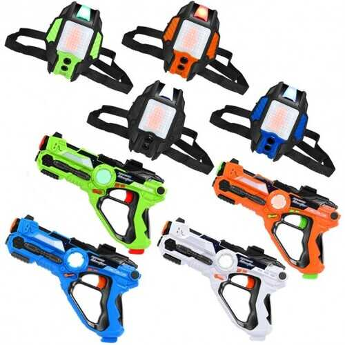 4 pcs  Set Laser Tag Guns with Vests LED Target Armor-Guns+Vests