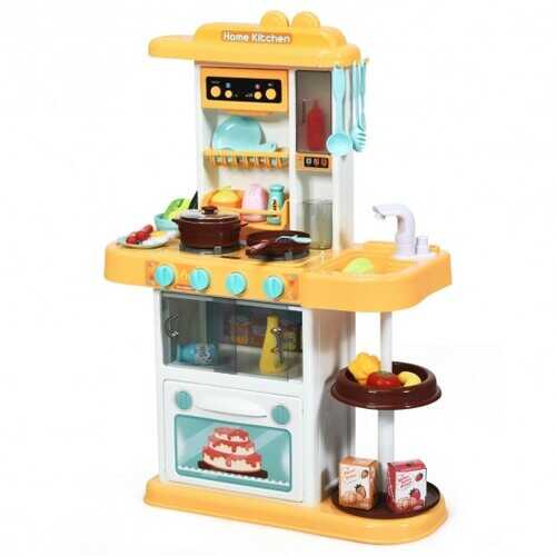 Kitchen Playset with Realistic Lights & Sounds-Yellow - Color: Yellow
