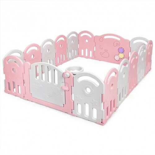16-Panel Baby Playpen with Music Box & Basketball Hoop-Pink