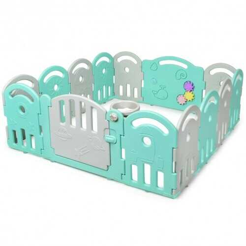 14-Panel Baby Playpen with Music Box & Basketball Hoop-Light Green