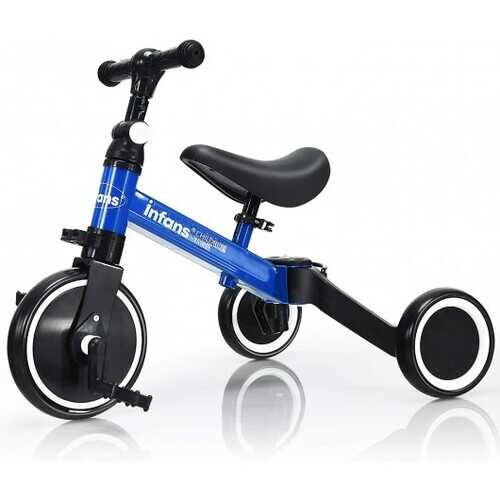 3 in 1 3 Wheel Kids Tricycles with Adjustable Seat and Handlebarfor Ages 1-3-Blue - Color: Blue