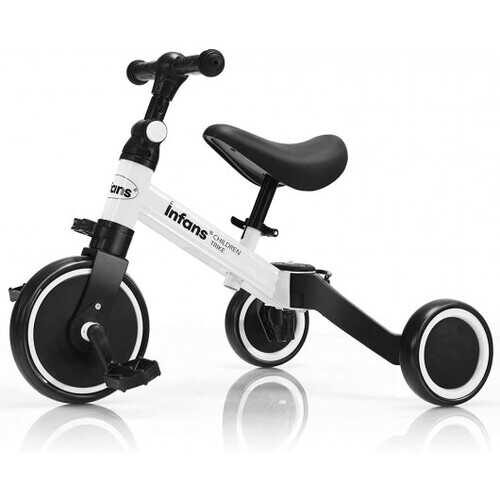 3 in 1 3 Wheel Kids Tricycles with Adjustable Seat and Handlebarfor Ages 1-3-White - Color: White