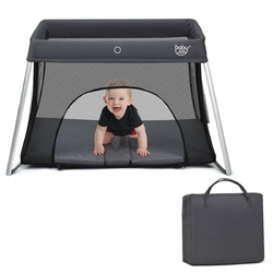 Lightweight Foldable Baby Playpen w/ Carry Bag-Dark Gray - Color: Dark Gray
