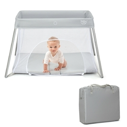 Lightweight Foldable Baby Playpen w/ Carry Bag-Light Gray - Color: Light Gray