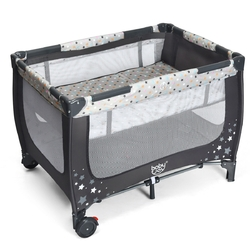 Portable Baby Playpen with Mattress Foldable Design-Gray - Color: Gray