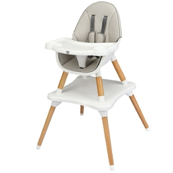 4-in-1 Baby Wooden Convertible High Chair -Gray