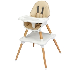 4-in-1 Baby Wooden Convertible High Chair -Khaki