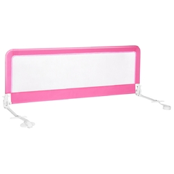 """59"""" Extra Long Folding Breathable Baby Children Toddlers Bed Rail Guard with Safety Strap-Pink - Color: Pink"""