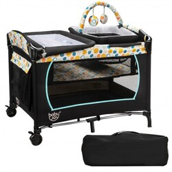 4-in-1 Convertible Portable Baby Playard with Changing Station-Blue - Color: Blue