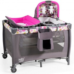 4-in-1 Convertible Portable Baby Playard Newborn Napper with Music and Toys-Pink - Color: Pink