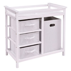 Infant Baby Changing Table w/3 Basket Hamper Diaper Storage Nursery-White