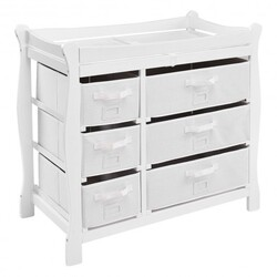 Sleigh Style Baby Changing Table Diaper 6 Basket Drawer Storage Nursery-White - Color: White
