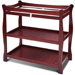 Sleigh Style Baby Changing Table Nursery Diaper Station-Cherry