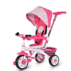 4-in-1 Detachable Baby Stroller Tricycle with Round Canopy -Pink