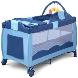 Portable Baby Crib Playpen Playard Pack Travel Infant Bassinet Bed Blue - Color: Blue