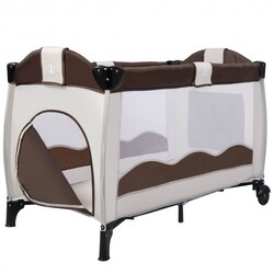 Baby Crib Playpen Playard Pack Travel Infant Bassinet Bed Foldable 4 color-COFFEE - Color: Coffee