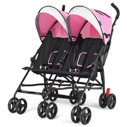 Foldable Twin Baby Double Stroller Ultralight Umbrella Kids Stroller-Pink - Color: Pink