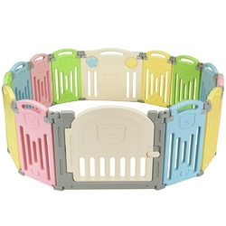 Foldable Baby Playpen 14 Panel Activity Center Safety Play Yard-Multicolor