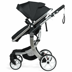 Folding Aluminum Infant Reversible Stroller with Diaper Bag-Black - Color: Black