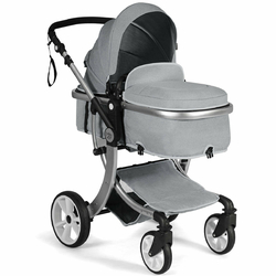 Folding Aluminum Infant Reversible Stroller with Diaper Bag-Gray - Color: Gray