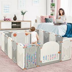 16 Panel Activity Safety Baby Playpen w/ Lock Door-Beige - Color: Beige