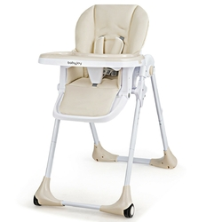 Baby Convertible High Chair with Wheels-Beige - Color: Beige