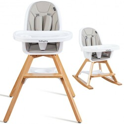 3-in-1 Convertible Wooden Baby High Chair-Gray - Color: Gray