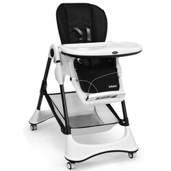 A-Shaped High Chair with 4 Lockable Wheels-Black - Color: Black
