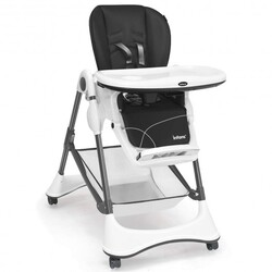 A-Shaped High Chair with 4 Lockable Wheels-Gray - Color: Gray