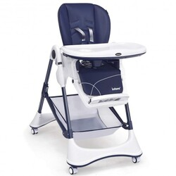 A-Shaped High Chair with 4 Lockable Wheels-Navy - Color: Navy