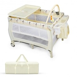 Portable Foldable Baby Playard Nursery Center with Changing Station-Beige - Color: Beige